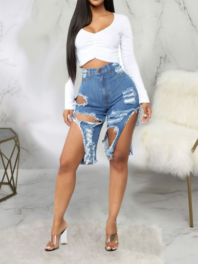 Blue Cut Out Distressed Ripped Pockets High Waisted Denim Short Jean