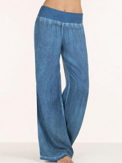 Jean longue droite large fluide décontracté ample femme denim pantalon bleu
