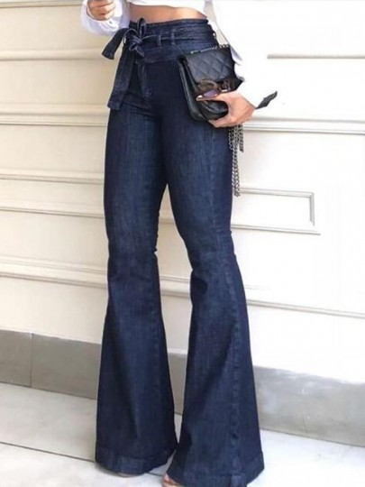 Dark Blue Sashes High Waisted Flare Bell Bottom Vintage Long Jeans