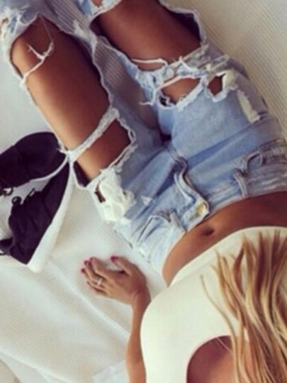 Jeans longue découpé troué mode style boyfriend femme denim pantalons bleu clair