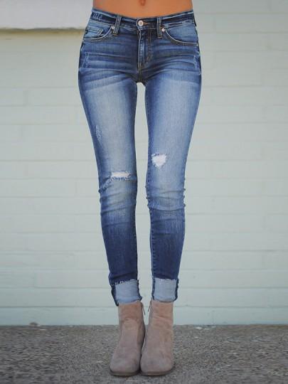 Jeans long poches boutons taille haute bleu