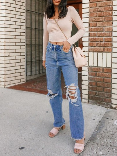 Blue Pockets Buttons High Waisted Knee Ripped Destroyed Long Boyfriend Mom Jeans