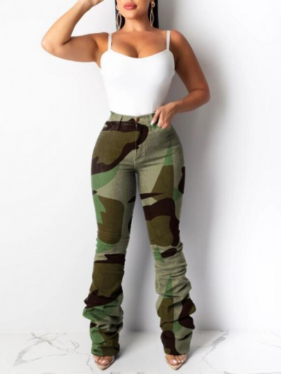 Army Green Camouflage Pattern Pleated Pockets High Waisted Ruched Long Jeans