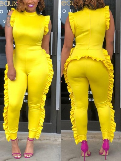 Yellow Ruffle Bodycon High Waisted Fashion Long Jumpsuit