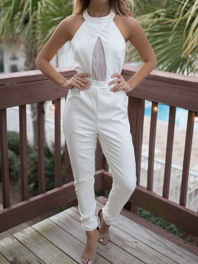 White Patchwork Sheer Backless Halter Neck High Waisted Fashion Long Jumpsuit