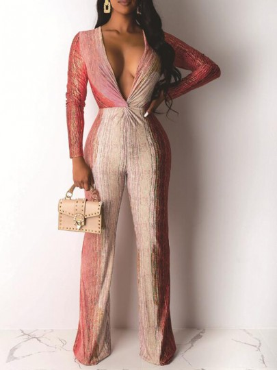 Beige-Red Patchwork Bright Wire Deep V-neck Sparkly Wide Leg Long Jumpsuit