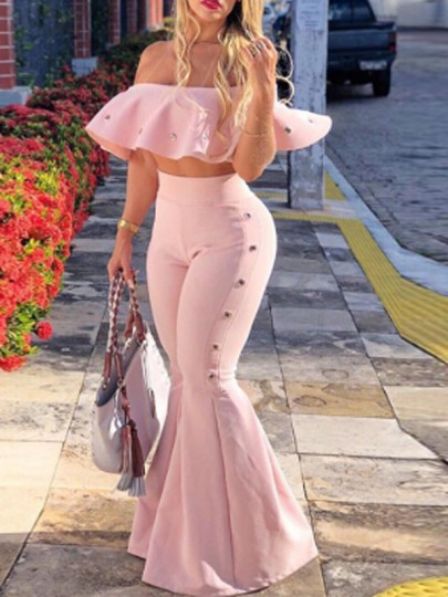 Pink Ruffle Off Shoulder Backless High Waisted Two Piece Elegant Party Long Jumpsuit