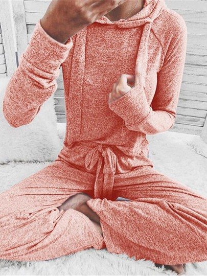 Pink Fuzzy Drawstring Going out Comfy Two Piece Fashion Hooded Pajamas Long Jumpsuit