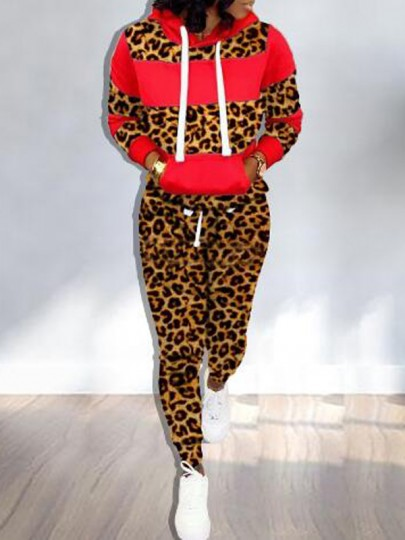 Red Patchwork Leopard Drawstring Pockets Hooded Two Piece Long Jumpsuit