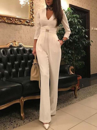 White Pockets V-neck Three Quarter Length Sleeve Slim Elegant Casual Party Long Jumpsuits
