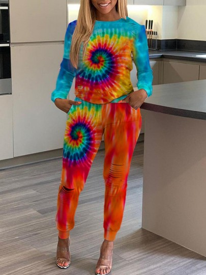 Multicolor Rainbow Tie Dye Pockets Cut Out Round Neck Long Sleeve Two Piece High Waisted Long Jumpsuit