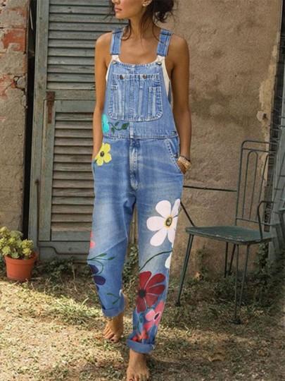 Light Blue Flowers Print Pockets High Waisted Overall Pants Long Denim Dungarees Jumpsuit