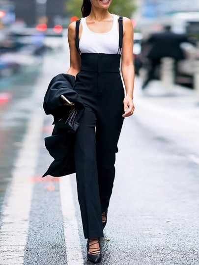 Black Pockets High Waisted Fashion Long Jumpsuit Overall Pants