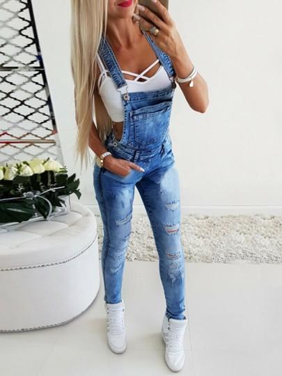 Salopette longue en jean avec poches bretelle slim mode femme combinaison bleu
