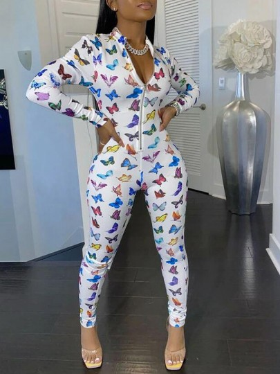 White Zipper Colorful Butterfly Print V-neck Long Sleeve Bodysuit Pajama Long Jumpsuit