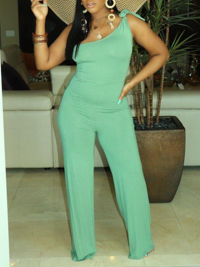 Neon Green Asymmetric Shoulder Party High Waisted Wide Leg Palazzo Long Jumpsuit