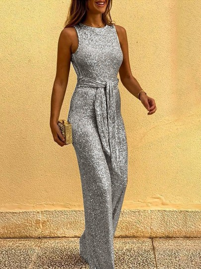 Silver Sequin Belt Backless Round Neck Sleeveless Wide Leg Palazzo Pants Long Jumpsuit
