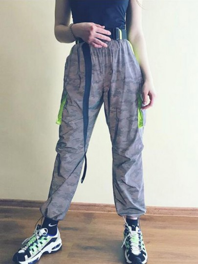 Grey Camouflage Pockets Belt High Waisted Reflective Cargo Casual Long Pants