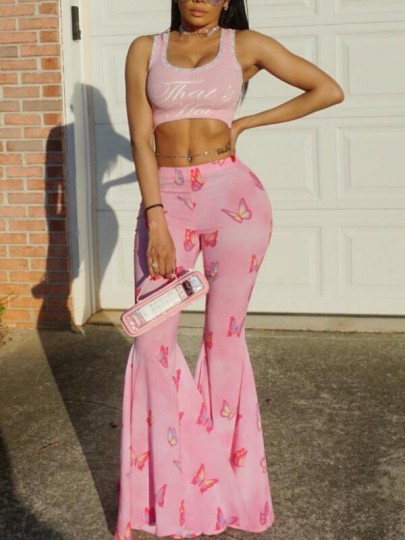 Pink Butterfly Draped High Waisted Extreme Flare Bell Bottom Vintage Long Pants