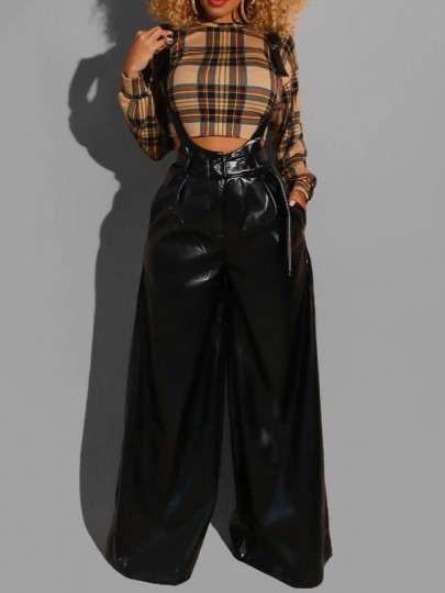 Black Pockets Belt Pu Leather High Waisted Latex Wide Leg Overall Long Pants