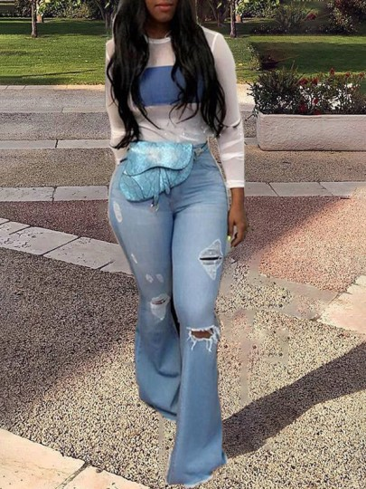 Light Blue Cut Out Buttons Zipper Pockets Distressed Ripped Bell Bottomed Flares Long Jeans Pants