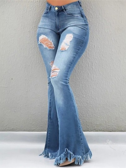 Light Blue Patchwork Cut Out Distressed Tassel High Waisted Fashion Flare Bell Bottom Jeans Pant