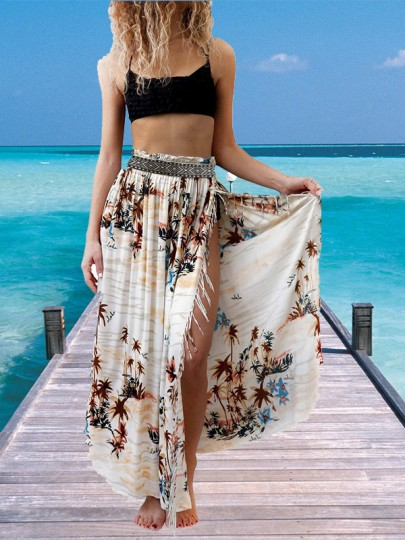White Floral Print Tassel Side Split Bohemian Long Skirt