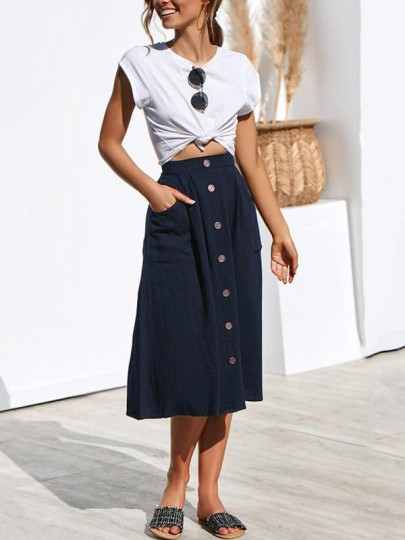 Blue Patchwork Pockets Buttons Fashion Skirt