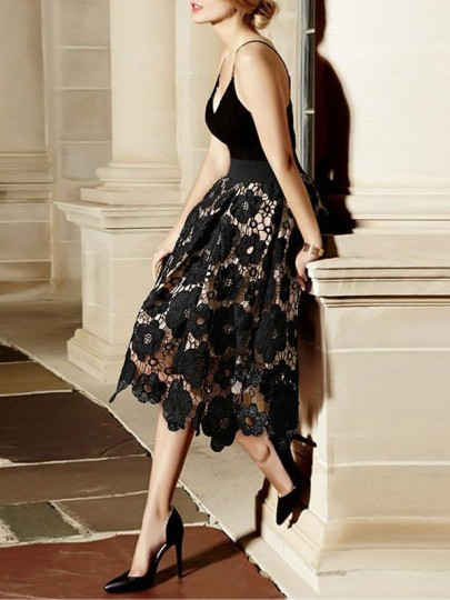 Black Floral Cut Out Lace Elastic Waist Sweet Party Skirt