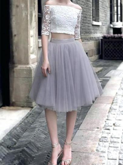 Jupe mi-longue bouffante tutu en tulle taille élastique élégant femme gris