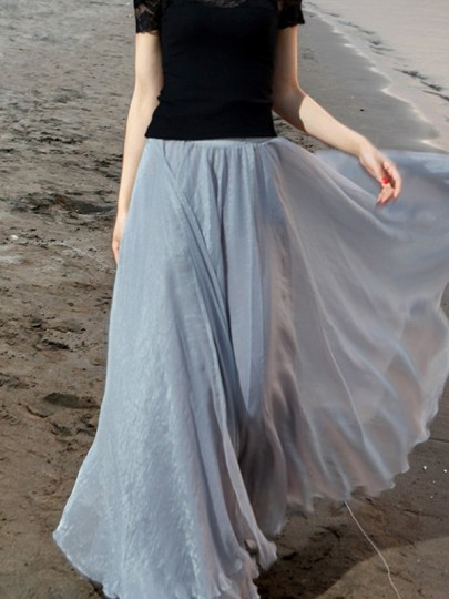Grey Pleated High Waisted Grenadine Ruffle Fluffy Puffy Tulle Beach Vacation Skirt