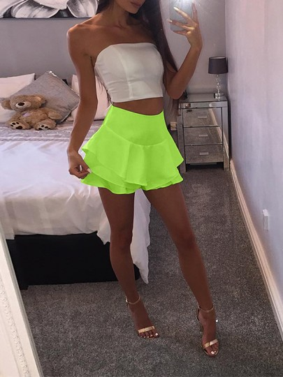 Neon Green Patchwork Irregular Cascading Ruffle High Waisted Fashion Fluorescent Color Skirt
