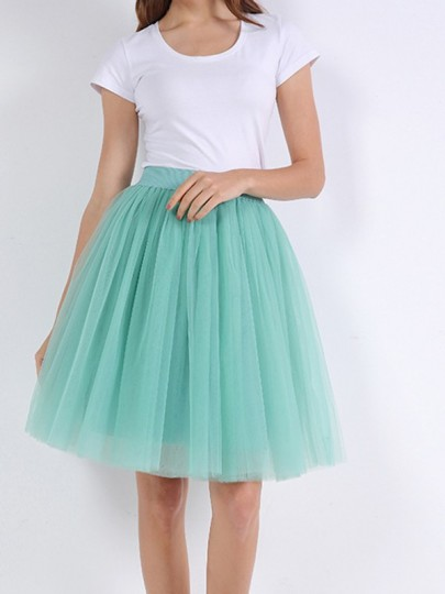 Dusty Green Schichten von Grenadine Fluffy Puffy Tüll Chiffon Homecoming Party Short Princess Skirt
