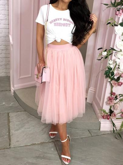 Jupe mi-longue bouffante tutu en tulle fluide taille élastique mode élégant femme rose