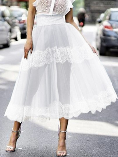 White Patchwork Grenadine Lace High Waisted Fluffy Puffy Tulle Party Long Skirt