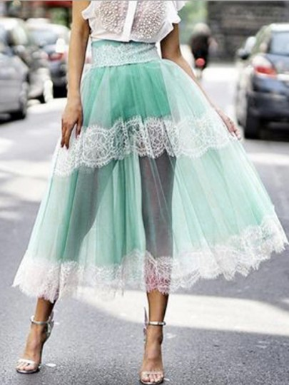 Mint Green Patchwork Grenadine Lace High Waisted Fluffy Puffy Tulle Party Long Skirt