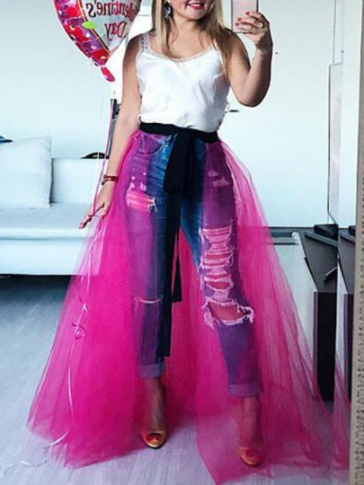 Rose Carmine Grenadine High Waisted Fluffy Puffy Wedding Gowns Homecoming Bridesmaid Party Overlay Skirt