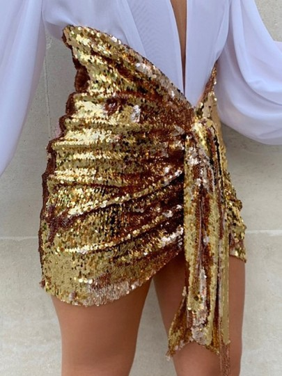 Golden Patchwork Sequin Knot Sparkly Glitter Birthday Party High Waisted Skirt