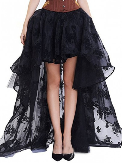 Black Patchwork Grenadine Lace Irregular High-Low Fluffy Puffy Tulle NYE Party Skirt