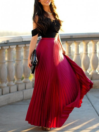 Burgundy Pleated Flowy Elastic High Waist Fashion Elegant Banquet Bridesmaid Prom Maxi Skirt