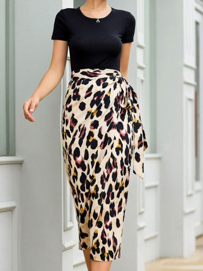 Yellow Leopard Print Bow High Waisted Slit Fashion Skirt