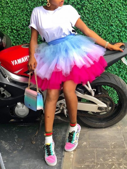 Multicolor Colorful Layers Of Grenadine Tulle Tutu High Waisted Cute Mini Skirt