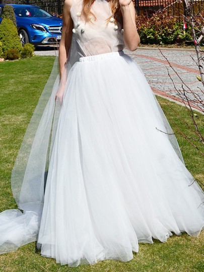 White Grenadine Elastic Waist Floor Length Elegant Fluffy Puffy Tulle Wedding Bride Skirt