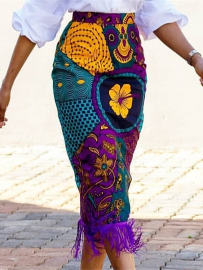 Purple-Yellow Embroidery Tribal Print Tassel High Waisted Casual Midi Skirt