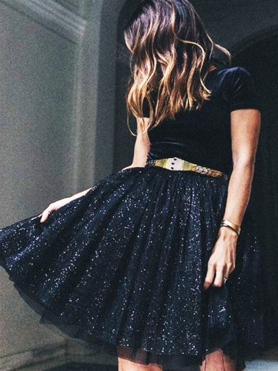 Black Grenadine Pleated Sequin Glitter Sparkly Elastic Waist Puffy Tulle Homecoming Party Short Skirt