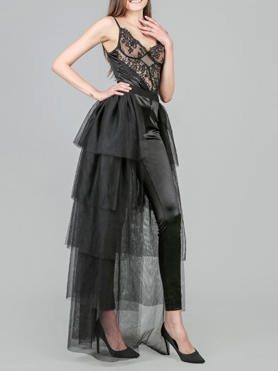 Black Patchwork Layers Of Grenadine Fluffy Puffy Tulle Slit High Waisted Wedding Long Skirt