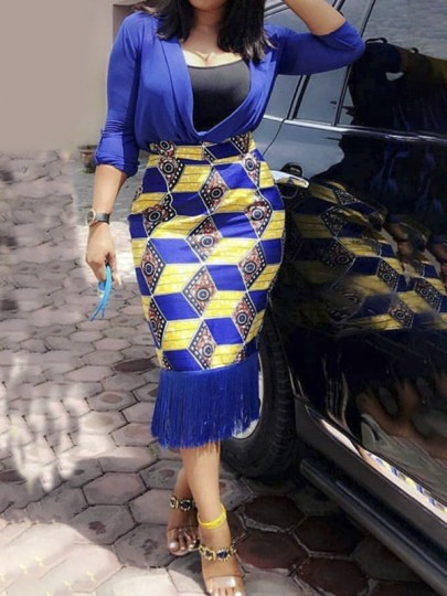 Blue Patchwork Tassel Aztec Africa Print High Waisted Africa Style Bodycon Midi Skirt