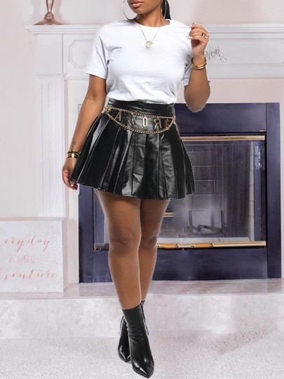 Black PU Leather Vinyl Pleated High Waisted Tutu Cute Mini Skirt