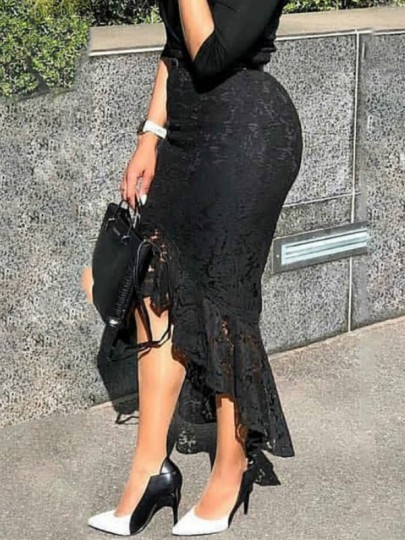 Black Patchwork Lace Cut Out Hip Bodycon High Waisted Midi Skirt