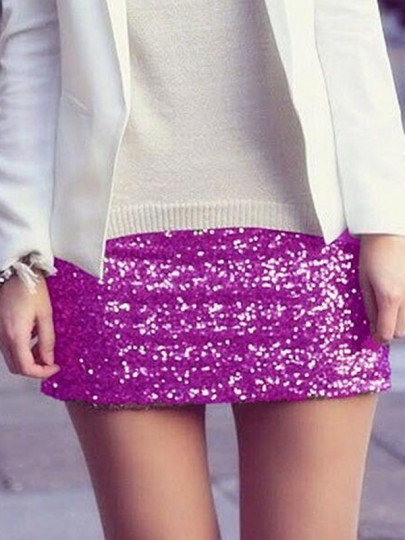 Purple Sequin Glitter Sparkly High Waisted Plus Size Bodycon NYE Banquet Party Short Skirt